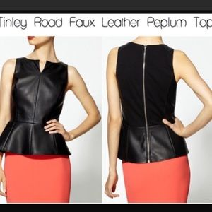 Tinley Road vegan leather peplum top - S